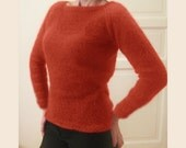 custom made hand knitted orange/coral sweater