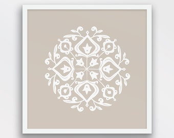 Persian Motif Print, Folk Art, Oyster and White Decor, Oyster Beige Wall Art, Minimalist wall decor, Printable Art