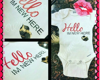 Hello I'm new here bodysuit...NOT embroidery or paint. Baby shower gift, going home shirt, heat transfer vinyl