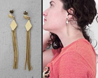 Diamond FRINGE Earrings Gold Dangle Style Pierced Post 80s Disco