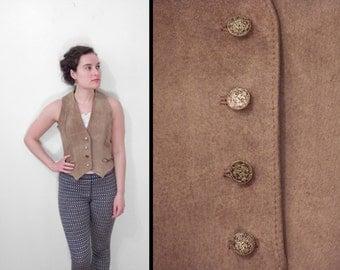 GUNTER Suede Vest Brass Crest Buttons Fitted 1970s George Masket