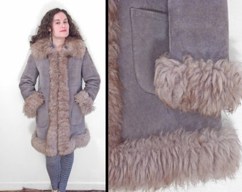 Gray SHEARLING Coat 1970s Ardney Genuine Suede Lamb Russian Princess Size Medium