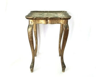 Vintage Florentine Drinks/Martini Table, Petite Side Table, Green and Gold