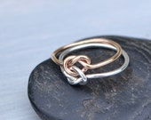 Double Knot Ring, Rose Gold Filled Ring, Two Toned Ring, Stacker Ring, Two Love Knots, Knot Promise Ring, Gold Knot Ring, Double Love Knot