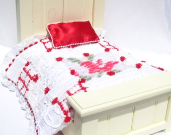 "Doll Quilt Red and White Chenille Quilt Patchwork Doll Chrsitmas Quilt Doll Blanket for 14"" Doll Small Doll Blanket Car Seat Blanket Lovey"