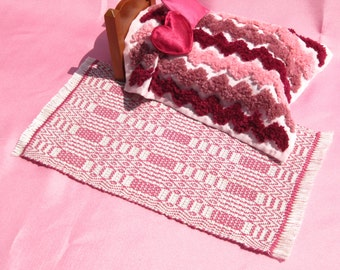 Dollhouse Rug  Hand Woven Miniature Rug Rose Pink Dollhouse Rug Rose Pink Miniature Rug Handwoven Queen's Delight Rug 12th Scale Area Rug