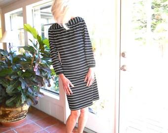 Vintage Kimberly sheath dress striped black and white 1960's dacron knit longer sleeve boat neck mod French: medium, large