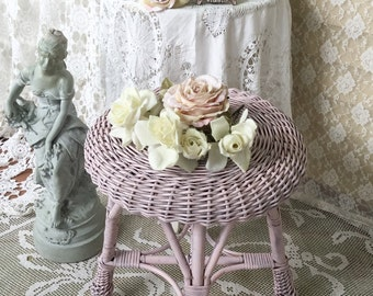 Shabby Pink Wicker Stool, footstool, milking stool, Footrest, ottoman, shabby cottage chic, svfteam