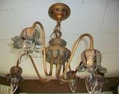Antique Chandelier Light Fixture Art Nouveau Original Paint 1910s 5 Light
