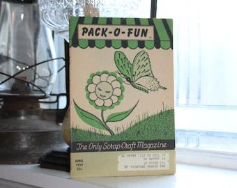 Vintage 1950s Pack-O-Fun Crafts Book Scrap Craft Magazine April 1959