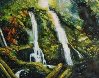 Watercolor ORIGINAL - Lady Creek Falls - waterfall, Oregon, rain forest, Mount Hood, Muckenthaler, Burke