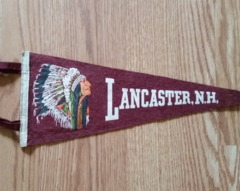 Lancaster, New Hampshire Pennant, Native American in Headdress Featured, ca 1960