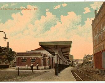 Vintage Postcard, Harrisonburg, Virginia, Union Railroad Station, ca 1920