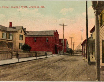 Vintage Postcard, Crisfield, Maryland,  Main Street Looking West, ca 1910