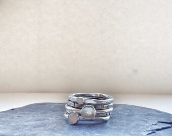 Opal Ring - Stacking Rings - Opal Stackable Rings