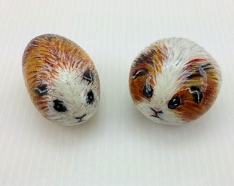 Pair of Golden Brown and White Baby Guinea Pig Pet rocks