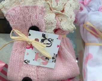knitted leg warmers/Sale adorable baby/toddler girl knitted pink leg/warmers/ with ruffle lace top/kids