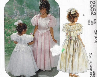 McCall's Special Moments Sewing Pattern 2552 Girls 4-6Flower Formal Attached Petticoat with Attached Petticoat  UNCUT FACTORY FOLDED