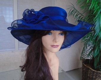 Navy blue  Kentucky derby hat navy blue hat church hat