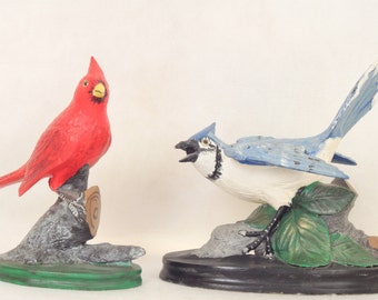 Pair of Ceramic Bird Sculptures Figurines Red Cardinal Blue Jay Handmade Hand made Home Decor Bird Figurines