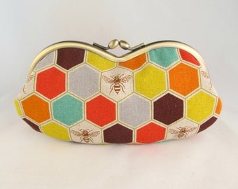 Soft Eyeglass Case - Eye Glass Case - Sunglasses Case - Cute Glasses Case - Bee Gifts - Sunglass Case - Glasses Case Kiss Lock