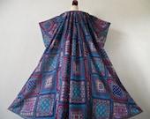INDIA . Summer Goddess . OS . Cotton Mix Indian Maxi Dress 70s Print Wide Sleeve Plus Size One Size OSFA xxL xL xxxL 1x 2x