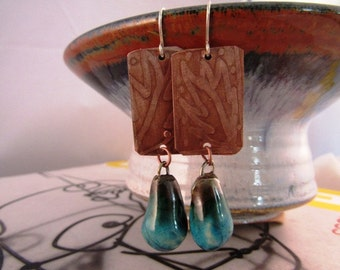 "Hand Etched copper and ceramic drop earrings - 2"", 'Water Flowing Underground'"
