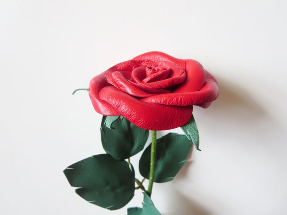 Leather Rose -Black Flower, Long Stem red  rose - 3 rd gift anniversary