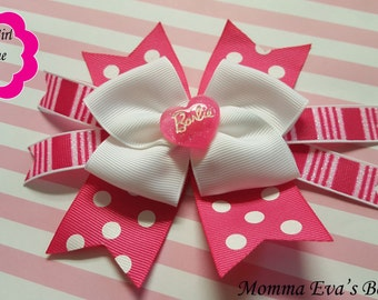 Momma Eva's --  NEW Popular Style / Glittering Barbie Inspired Multi Layered Boutique Hair Bow Design // 5 inch Design// Perfect For Parties
