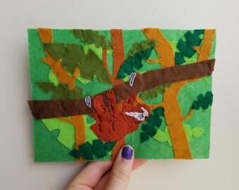 Felt Sloth in the Jungle - 5 x 7 portrait