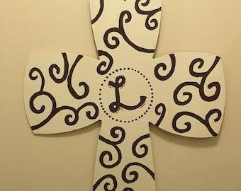 Hand Painted Wooden Cross Door Hanger woth Monogram or Burlap Ribbon