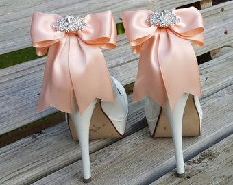 Wedding Shoe Clips, Bridal Shoe Clips,  MANY COLORS, Satin Bow Shoe Clips, Womens, Peach , Clips for Wedding Shoes, Bridal Shoes