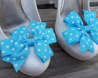Teal Polka Dot Shoe Clips, Bows, Bridal Shoe Clips,Grosgrain Bow Shoe Clips,  Shoe Clips Shoes Bows, Shoe Clips for Wedding Shoes,