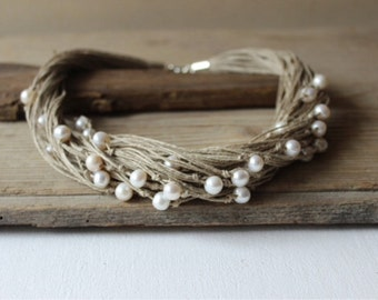 Pearl and linen necklace  / rustic wedding necklace / bridesmaid necklace / woodland wedding / white pearls and hemp necklace