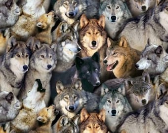 Fabric, North American Wildlife-Packed Wolves, Black Background, Elizabeth Studio, Crafts Sewing