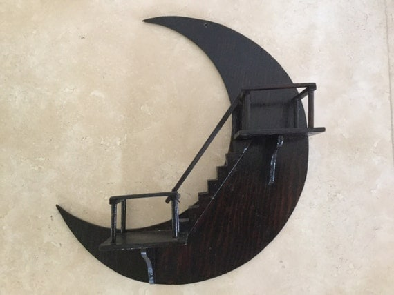 Vintage Wood Stairway To Heaven Wall Hanging Crescent Moon