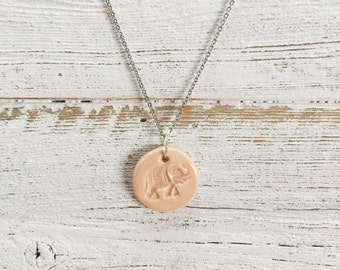 Ceramic Elephant Pendant, Blush, Zen, Unique Gift, Boho, Rlephant Jewelry, Ceramics, Gift for Her, Ceramic Jewelry