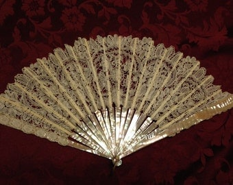 Antique Lace and Mother of Pearl Hand Fan