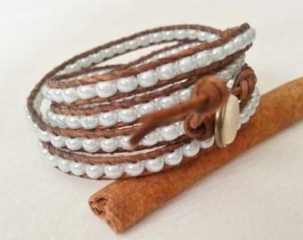 4xwrap leather bracelet, light blue glass seed beads
