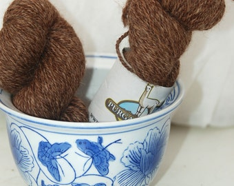 Brown variegated alpaca yarn