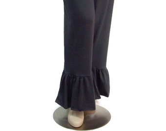 Womens Ruffle Pants in Lush Eco Friendly, Hand Dyed Organic Cotton/Bamboo Jersey-Made to Order and Choice of Colors- XXS thru Large