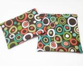 reusable sandwich bag / snack bag with zipper: aqua, brown, orange and green circles