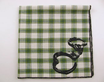 Hankie- HANDCUFFS shown on super soft GREEN plaid Hanky-or choose from white or any solid colors or plaids shown in pics