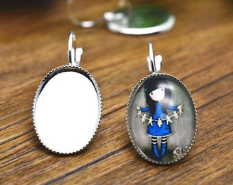 10pcs 13x18mm High Quality Silver Plated Brass Cameo Base French Earwire Clip K205-6