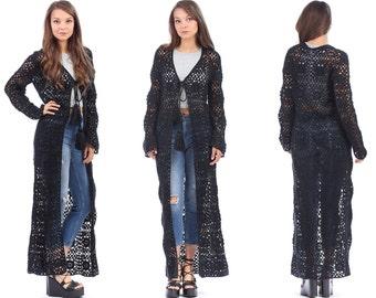 Black Crochet Dress Coat 90s Sheer Knit Long Boho Hippie Maxi Open Front Cut Out 1990s Beach Cover Up Festival Bohemian Chic Gothic Medium