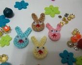 Small Crochet Bunny Appliques. Set of Eight Crochet Bunnies.