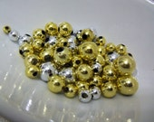 Gold and Chrome Color Crafting Beads. Set of 100 Beads.