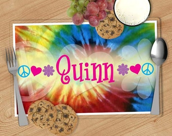 Tie-Dye - Kids Personalized Placemat, Customized Placemats for kids, Kids Placemat, Personalized Kids Gift