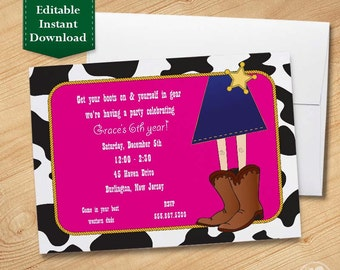 Cowgirl - Kids Birthday Invitations Template, Birthday Invitations for Kids,  Birthday Party Invitations for Kids