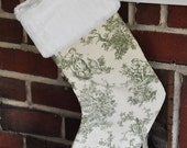 READY TO SHIP Toile Personalized Christmas Stocking Sage Chocolate Brown Grass Ivory no.117
